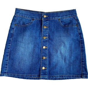 Wax Jean Basic Button Denim Skirt S